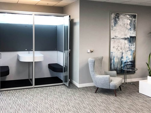 Resimerical phone booth and private office, acoustic privacy