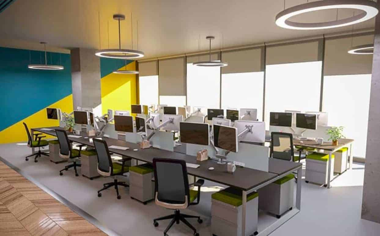 Open office bench workstations