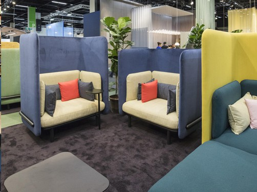 Resimercial, collaborative, lounge, group seating area, acoustic privacy chairs