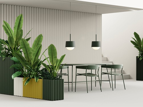 Resimercial collaborative meeting space, living plants with acoustic plant holders to divide room