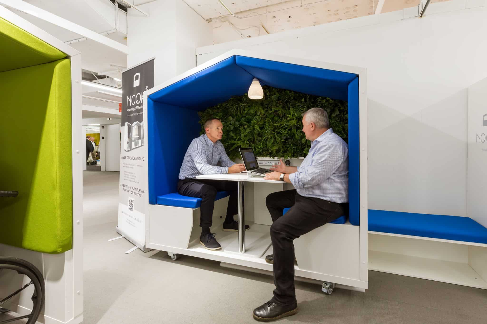 Resimerical mobile collaboration nookpod with LED lighting and power for charging