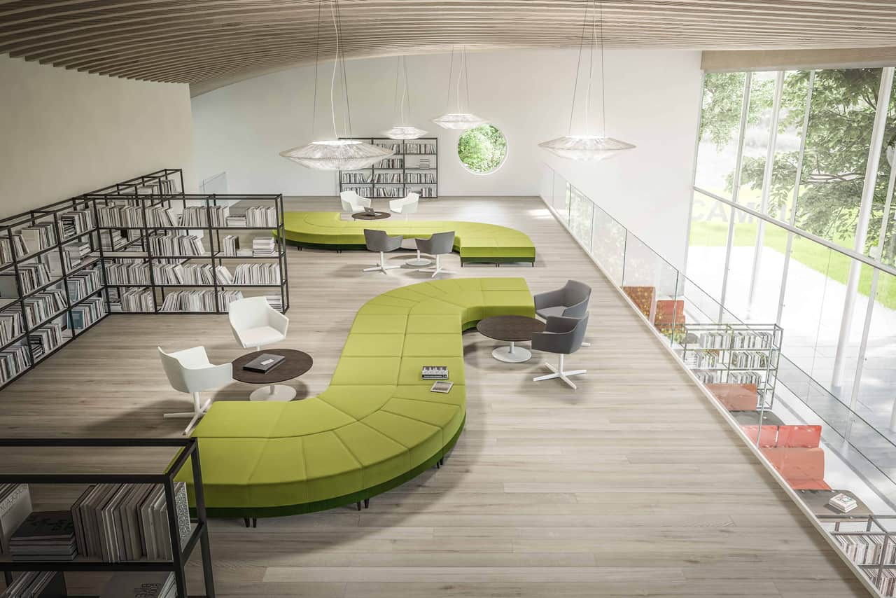 Resimercial lounge seating and collaborative office space