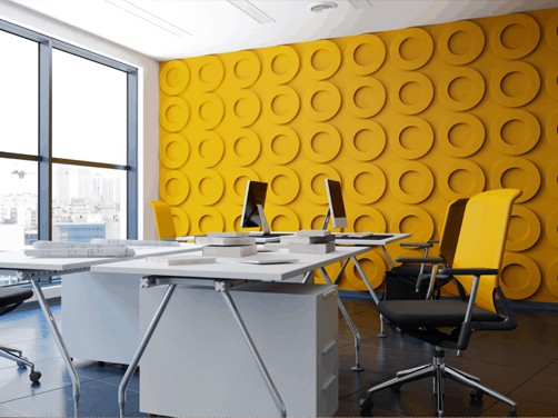 Resimercial collaborative office with architectural acoustic walls to add color, dimension and design