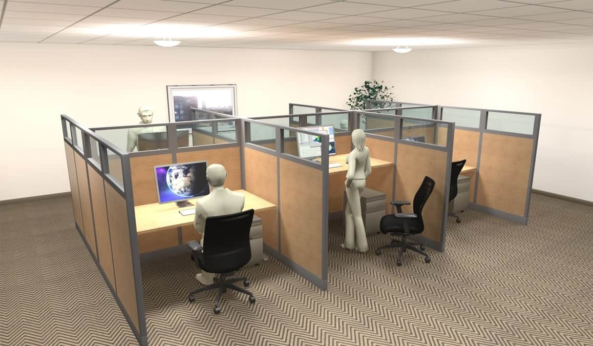 6 Person Laminate and Glass Workstation
