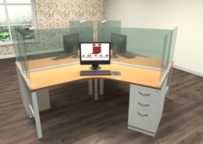 120 degree 3 person workstation with glass dividers
