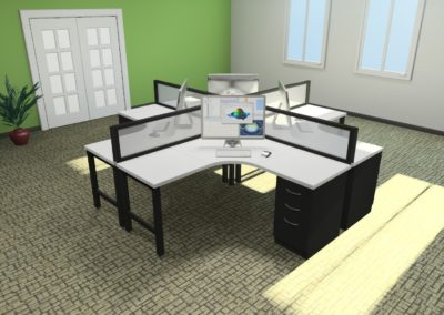 4 person desking unit with frosted glass