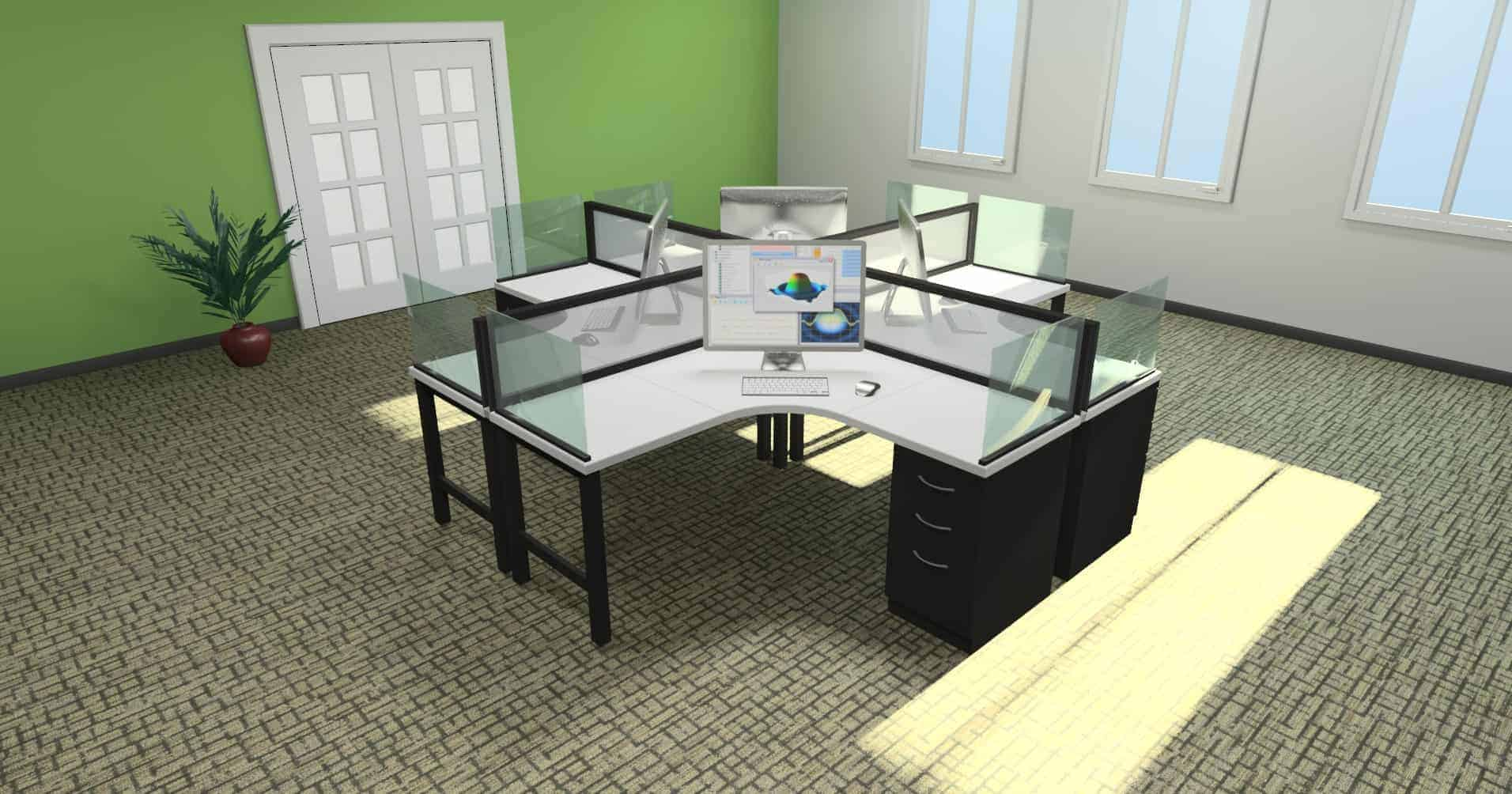 4 Person Desking Unit with Glass Screens