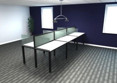 6 Person Workstation with Glass Screens