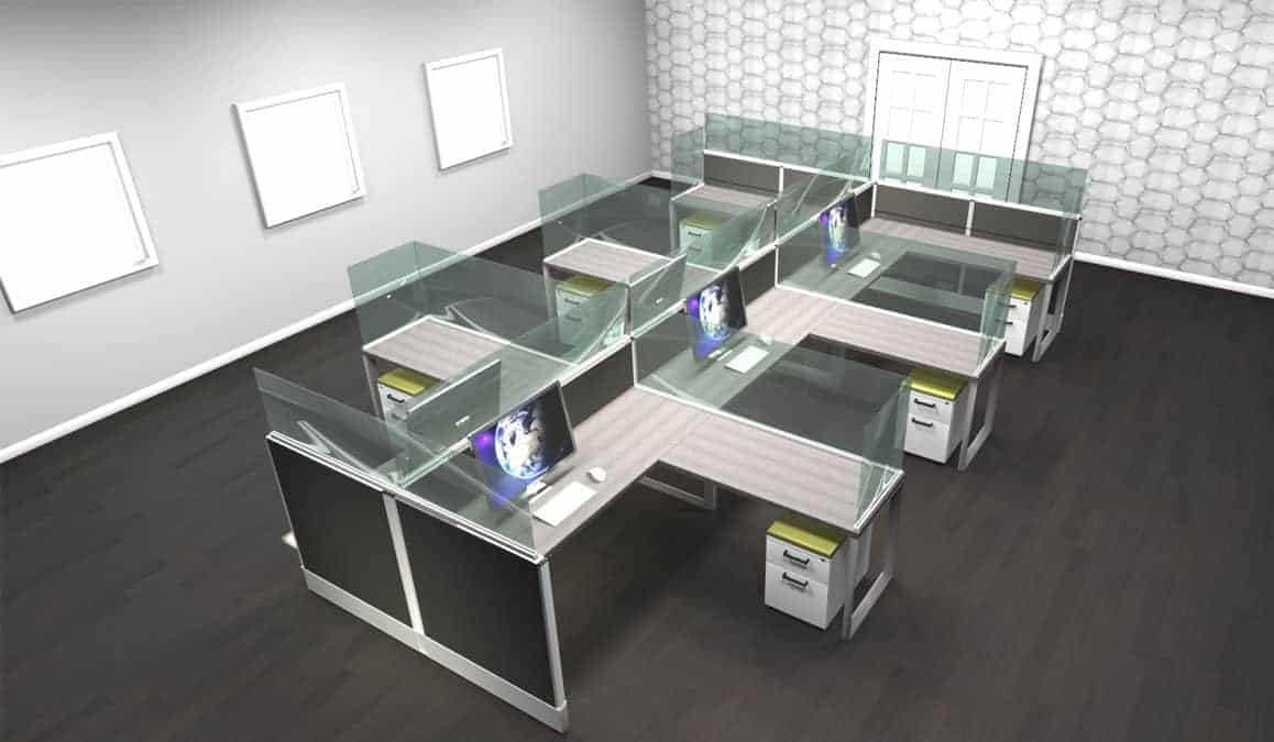 6 person laminate workstation - COVID19