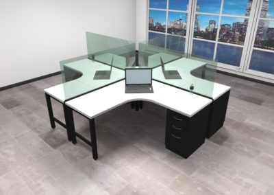 4 person workstation with screen dividers
