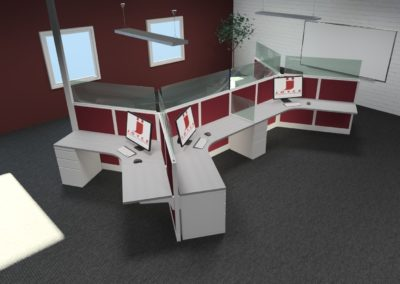 6 Person Dogbone Workstations with Sneeze Guards