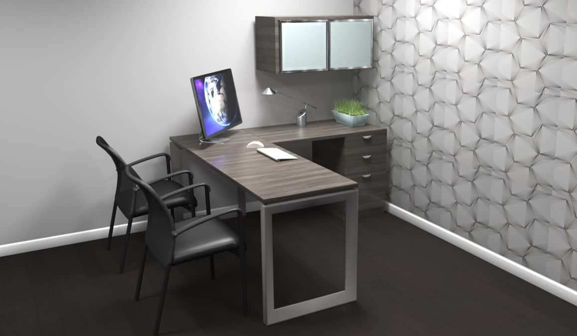 private laminate office with overhead