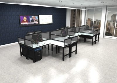 Existing 8 Person Desking with 14H Lexan Screens - After