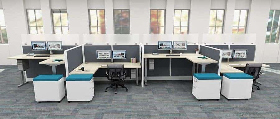 """120 Degree 3 Person Desking with 14"""" ribbed lexan privacy screens"""